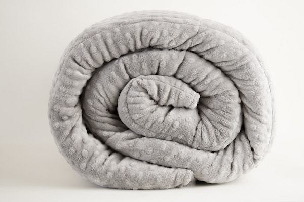Grey Minky Mosaic Weighted Blankets